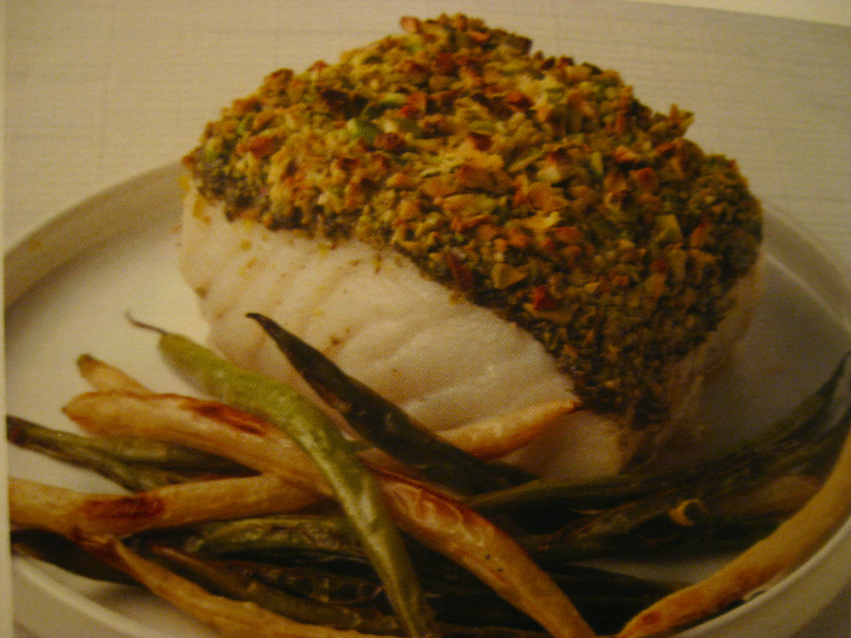 "Chilean Sea Bass with Pistachio-Pesto Crust & Green Bean ""Fries"""